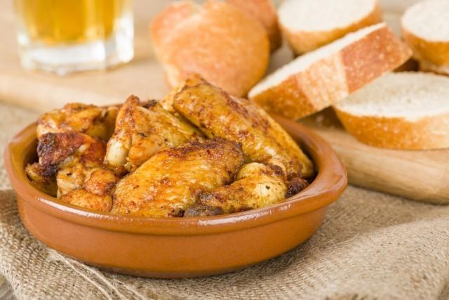 pollo al ajillo frito